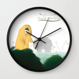 Friends with a little elephant Wall Clock