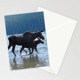 Mother moose & calf at Maligne Lake in Jasper National Park Stationery Cards