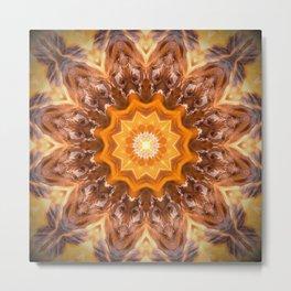 Orange Fire Mandala art, Meditation art, high vibration yoga studio chakra decor Metal Print