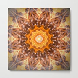 Orange Fire Mandala art - solar plexus chakra Metal Print