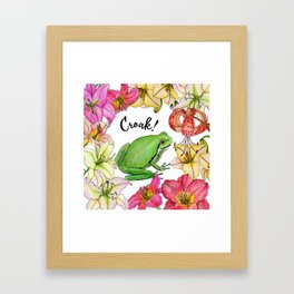watercolor frog with lilies Framed Art Print