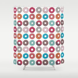 Colourful, illustrated, glazed, sprinkle Donut pattern Shower Curtain