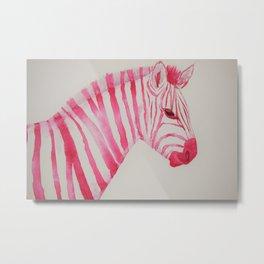 Watercolour Fuchsia Zebra Metal Print