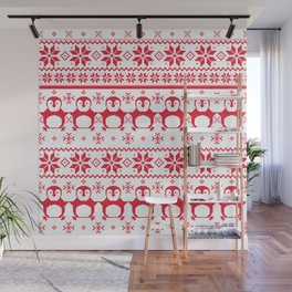 Red Scandinavian Penguin Holiday Design Wall Mural