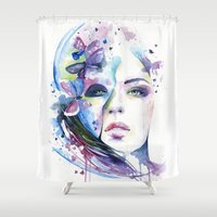 lunar Shower Curtains featuring lunar mistery by Cora-Tiana
