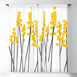 Hello Spring! Yellow/Black Retro Plants on White #decor #society6 #buyart Blackout Curtain