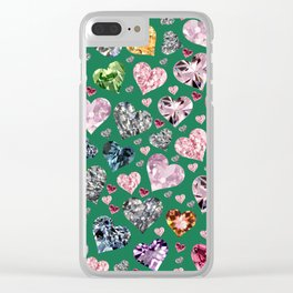 Heart Diamonds are Forever Love Green Clear iPhone Case