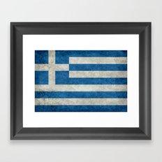 Greek flag in retro grunge Framed Art Print