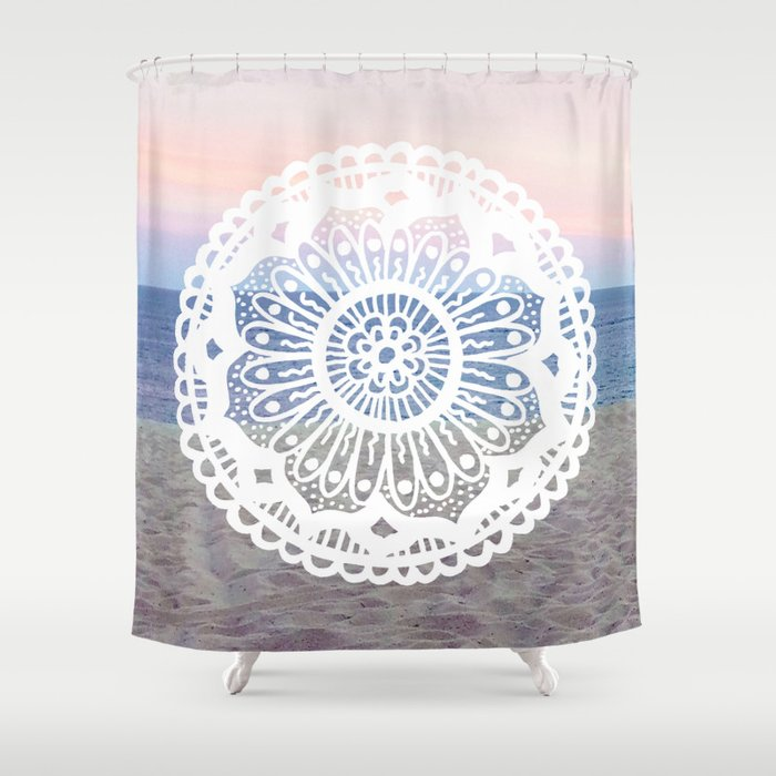 Beach Sunset Mandala Shower Curtain