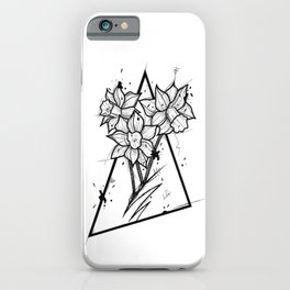 Narcissus Handmade Drawing, Made in pencil and ink, Tattoo Sketch, Tattoo Flash, Blackwork iPhone Case