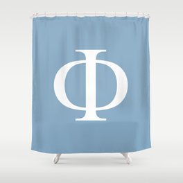 Greek letter Phi sign on placid blue background Shower Curtain