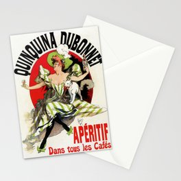 Quinquina Dubonnet woman white cat 1895 Stationery Cards