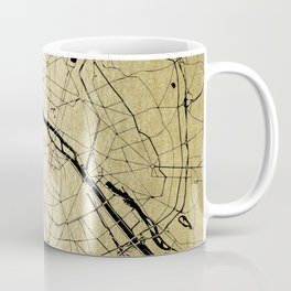 Paris France Minimal Street Map - Gold on Black Coffee Mug