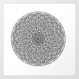 Circle of Life Mandala Black and White Art Print