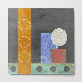 Gray, white,purple,orange, Smidge of Pink Geometric Metal Print