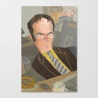 dwight schrute Canvas Prints featuring Dwight  by Sara Bicknell