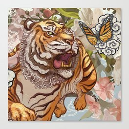 Tiger and the Butterfly Canvas Print