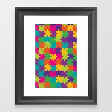 Colorful Jigsaw Puzzle Pattern Framed Art Print