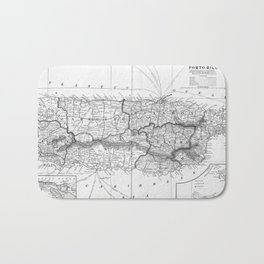Vintage Map of Puerto Rico (1901) BW Bath Mat