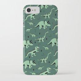 Dinosaur jungle love quirky creatures illustration iPhone Case