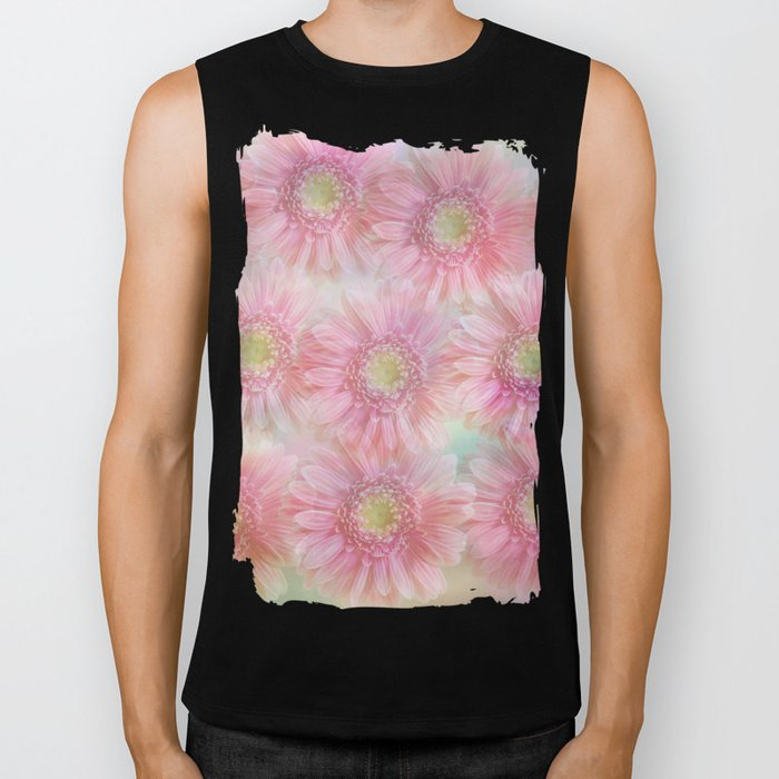 Pink daisies on a pastel background. Biker Tank