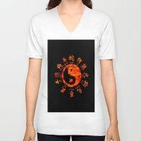 yin yang V-neck T-shirts featuring Yin yang. by DesignAstur