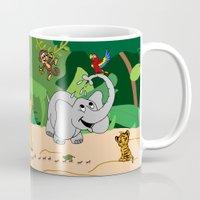 jungle Mugs featuring JUNGLE by Rebecca Bear