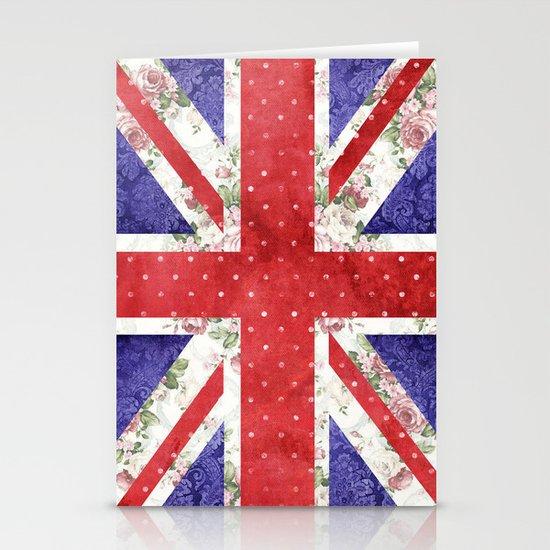 Vintage Red Polka Dots Floral UK Union Jack Flag and Blue Damask Stationery Cards
