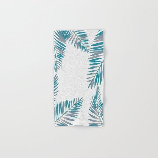 Watercolor tropical palm leaves blue Hand & Bath Towel
