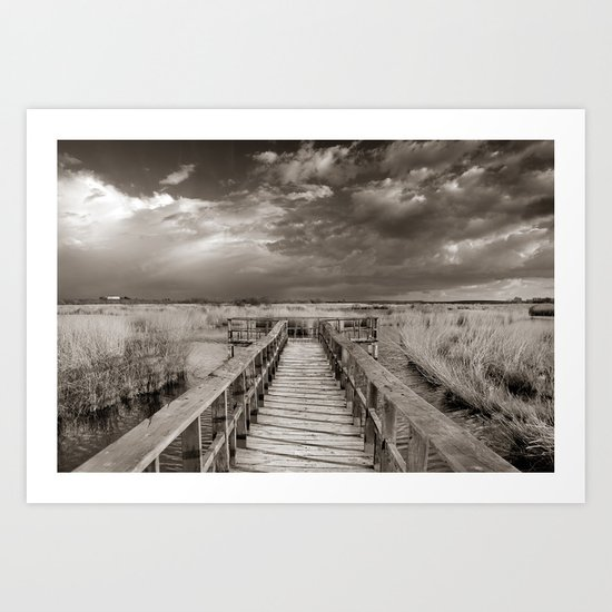 Stormy weather at the lake. Vintage Art Print