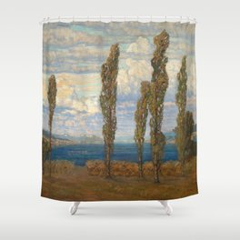 Landscape with lake and poplars by Hélène Funke Shower Curtain