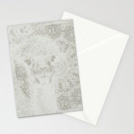 Ghostly alpaca and mandala Stationery Cards