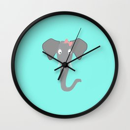 Elephant head with pink ribbon T-Shirt Wall Clock