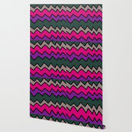 Green and Pink Zig Zags Wallpaper