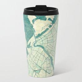 Dubai Map Blue Vintage Travel Mug