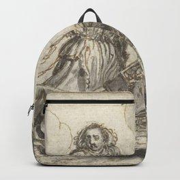 Adriaen Pietersz van de Venne - Man en een vrouw dragen huisraad op een berrie Backpack