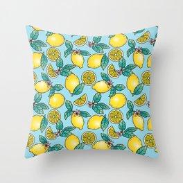 Tropical Vibe Lemon Pattern Throw Pillow