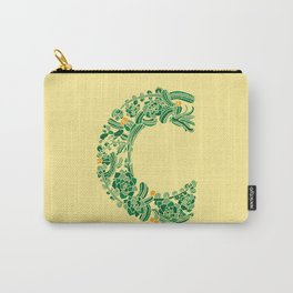 Floral Type - Letter C - Green Yellow Carry-All Pouch