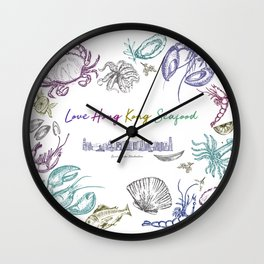 Lovely Hong Kong Skyline & Seafood Wall Clock