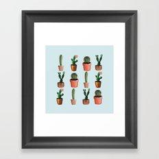 Various Cacti Light Blue Framed Art Print