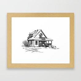 Winter Cottage Ink Framed Art Print