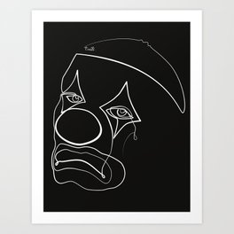 Sad Clown Line - White & Black Art Print
