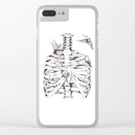 Flutter, Rib Cage & Hummingbird print Clear iPhone Case