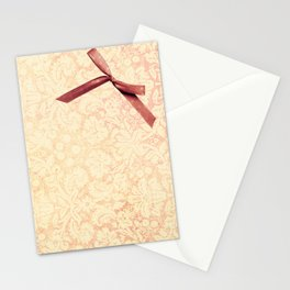 girly pink peach damask with bow Stationery Cards