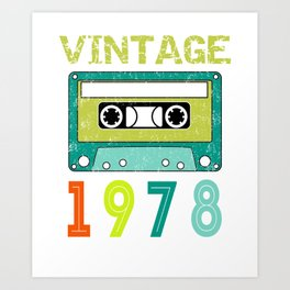 Retro style vintage 1978 audiocassette Art Print