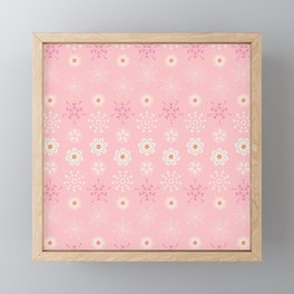 Delicate little flowers and stars on soft pastel pink Framed Mini Art Print