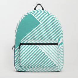 Teal Vibes - Geometric Triangle Stripes Backpack