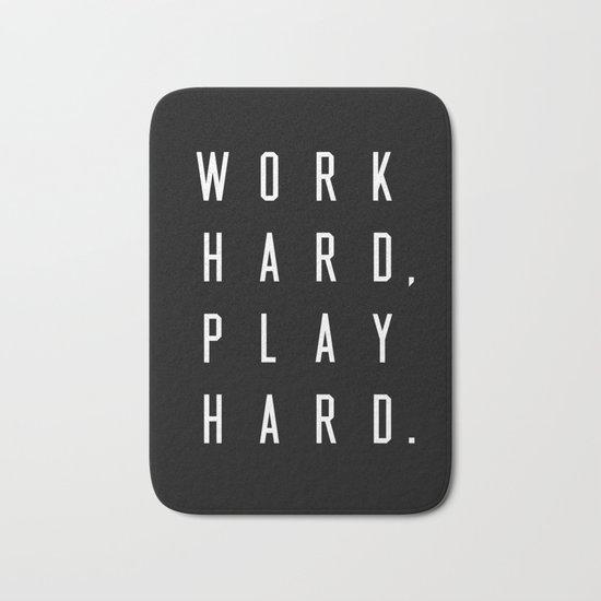 Work Hard Play Hard Black Bath Mat