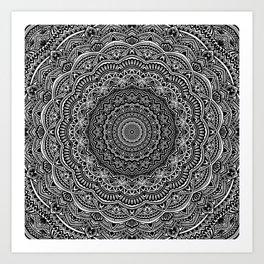Zen Black and white mandala Sophisticated ornament Art Print