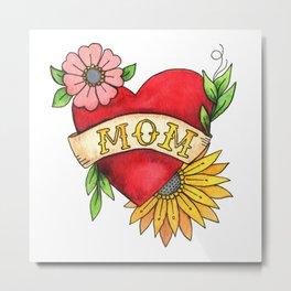 Mom Heart Tattoo Watecolor with Flowers Metal Print